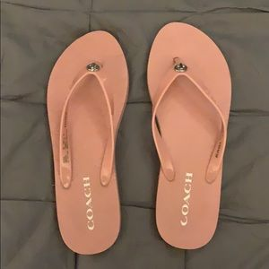Coach Flip Flops wRubber Straps and silver accent.